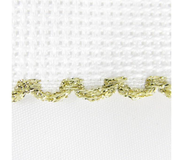 Taśma aidowa szer. 10 cm biała z krawędzią złotą - 181