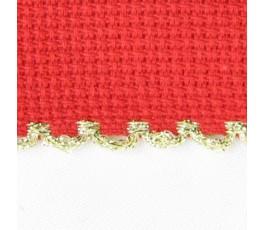 Taśma aidowa szer. 5cm czerwona z krawędzią złotą - 98