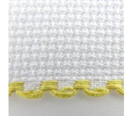 Taśma aidowa szer. 5 cm biała z krawędzią żółtą - 12