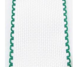 Taśma aidowa szer. 5 cm biała z krawędzią zieloną - 166