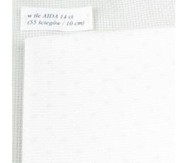PETIT POINT AIDA 14 ct (35 x 42 cm) kolor: 4229 - biały kropki różowe