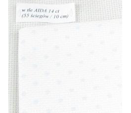 PETIT POINT AIDA 14 ct (35 x 42 cm) kolor: 5239 - biały kropki niebieskie