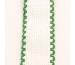 Taśma 2,5 cm biała z zielonymi brzegami - 166