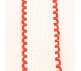Taśma 2,5 cm biała z czerwonymi brzegami - 19