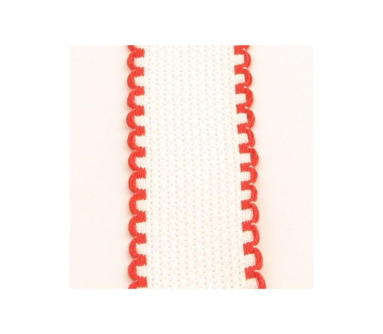 Taśma 5 cm biała z czerwonymi brzegami - 19